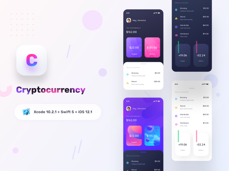 Cryptocurrency app SOURCE CODE iphone bitcoinethereum minimal trend uiux dailyui sharma neel prakhar daynightmode developer swift ios xcode source code source cryptocurrency app logo blockchain cryptocurrency