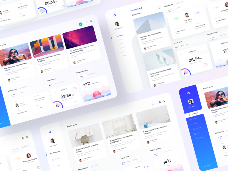 Dashboards collection for schedule and monitoring {part II} icon illustration trend application website clock management weather cards kit collection sharma neel prakhar design uiux clean ui minimal clean dashboard