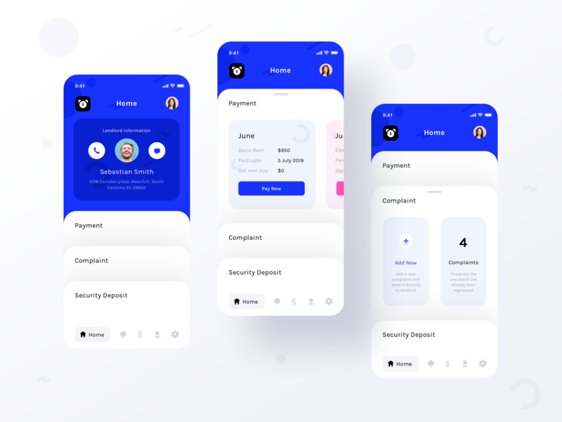 Tenant app assignment (Home ver 1 with Payment and complaint) vector tenant application ios app home payment complaint security deposit prakhar neel sharma illustration clean minimal trend pay notifications userprofile