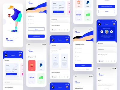 Tenant app screens (Wireframes + Screens Flow)