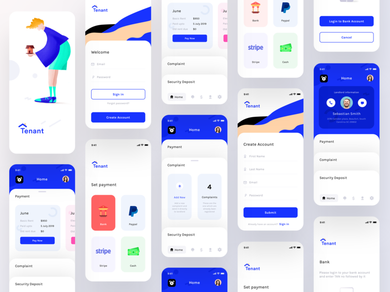 Tenant app screens (Wireframes + Screens Flow) paypalstripecash finance bank settings userprofile signup createaccount signin payment sharma neel prakhar reminder rent corporate mobile application ui app design application tenant