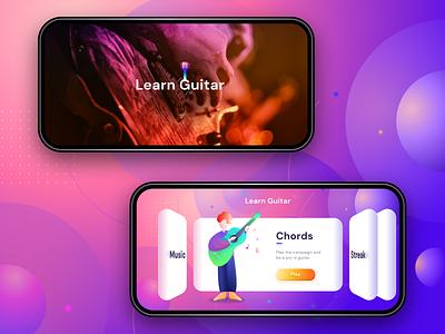 Learn Guitar Game (Splash + Main Menu) windows android iphone cards mobilegames swipeleftright menu home splash gradients sharma neel prakhar learning app illustrations 3d games ios guitar learn