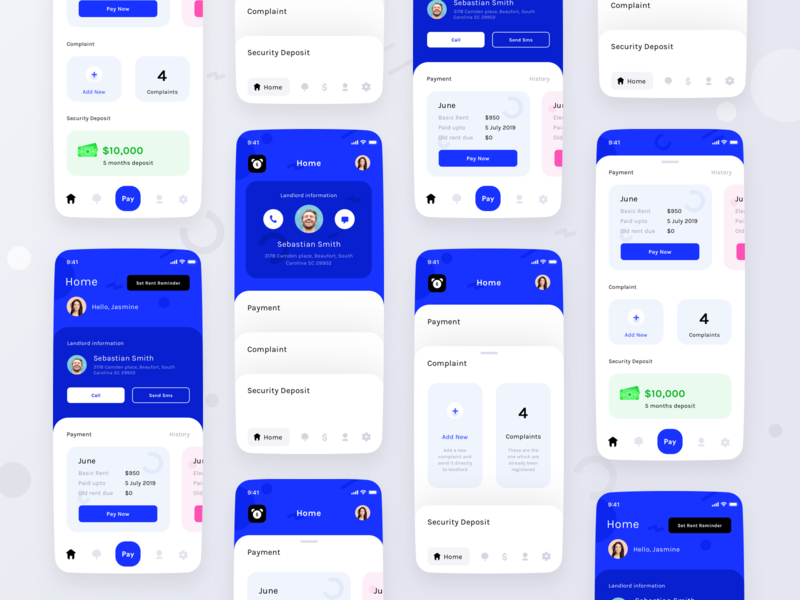Tenant app home versions complaint deposit cards settings userprofile notifications pay conversation message call corporate logo user web sharma neel prakhar design app ui