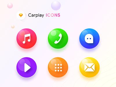 Carplay icons (SOurce SKetch) mailbox message dialpad home music player gradients 3d glossy meter vehicle ac sharma prakhar neel kit icons dashboard play car