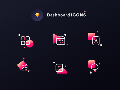 Dashboard icons DARK MODE (Source file Sketch) shapes night dark contacts settings bell books dashboard icons set kit icons branding typography vector logo app ui neel sharma prakhar