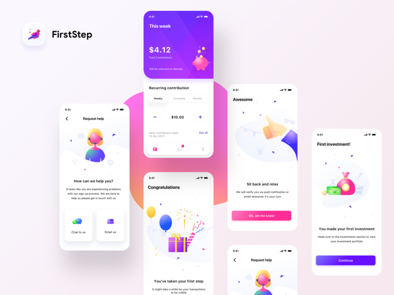 FirstStep screens settings email chat month week help uidesign mobile ios bank app ui sharma neel prakhar market share bank cash money investment