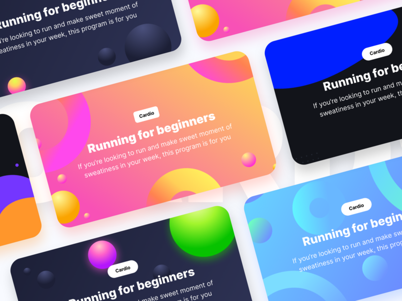 Unused banners prototype for a fitness product part-2 subscription cardio circle illustration shapes ipad iphone apple ios ux banners health gym fitness appstore app ui sharma neel prakhar
