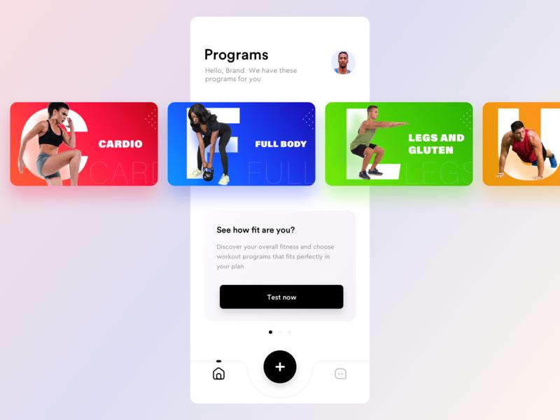 Fitness app prototype user programs upperbody body legs community chat icons home add store apple iphone ios app sharma neel prakhar cardio gym