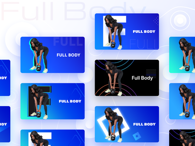 Fitness app Full Body section cards versions userinterface dumbbells fitness home yoga gymming healthy lifestyle healthy fit gradient vector logo design illustration app ui web sharma prakhar neel
