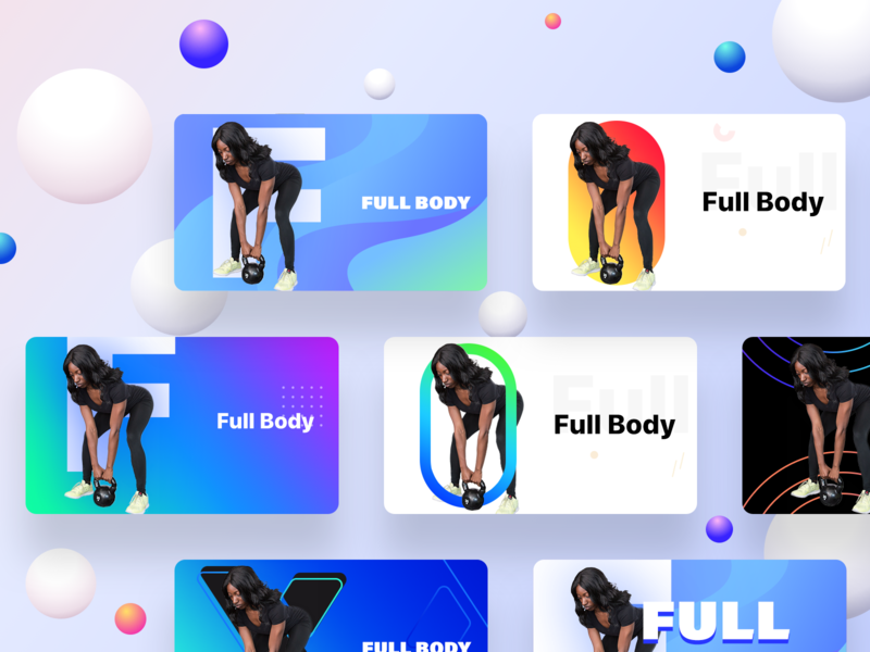 Fitness app Full Body section cards version II color fit gradient dumbbell exercise weightlifting weight swipe scroll cards icon design ios illustration ui app web sharma neel prakhar