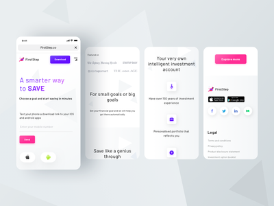 FirstStep mobile version android trending pattern grid button icons share view screen mobile user profile ios ui app illustration web sharma neel prakhar