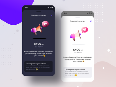 Monthly summary (Budget setup) bank modal application monthly weekly expenses spending notification illustration icons coins money sketch ai setup budget app sharma neel prakhar