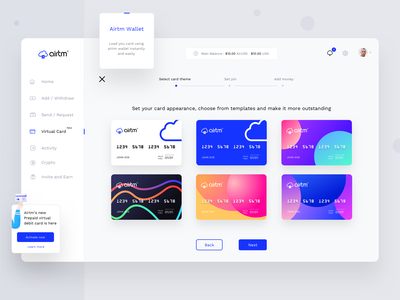 Airtm Virtual card assignment (Step1 : Select theme) theme activity cryptocurrency account debitcredit cards moneytransfer currency airtm breadcrumb ux typography logo design ui illustration web sharma neel prakhar