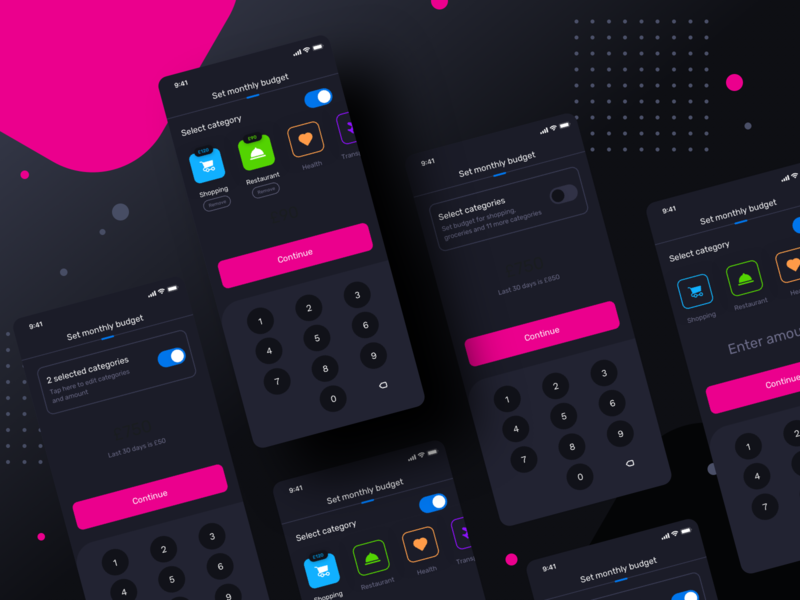 Budget setup : set categories and input amount (Version2) iphonedesign button userexperience userinterface switch numberpad category calculator health shopping night mode dark app design application ui ios sharma neel prakhar