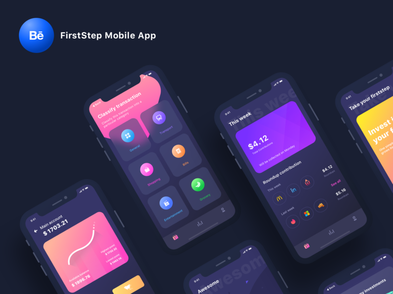 FirstStep mobile app Case study transports category app account transaction category trend gradient light night darkmode logo design icon ios illustration ui app sharma neel prakhar