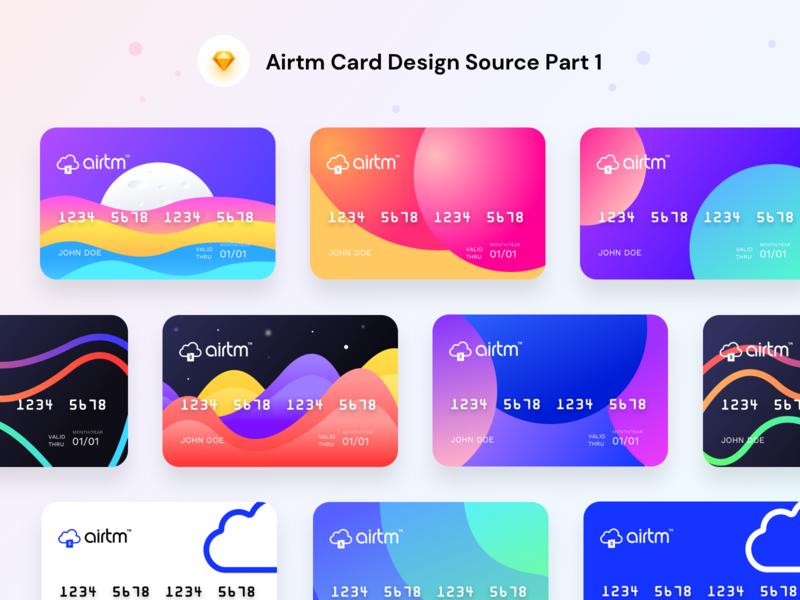 Airtm Virtual prepaid card designs part 1 (Source Sketch)