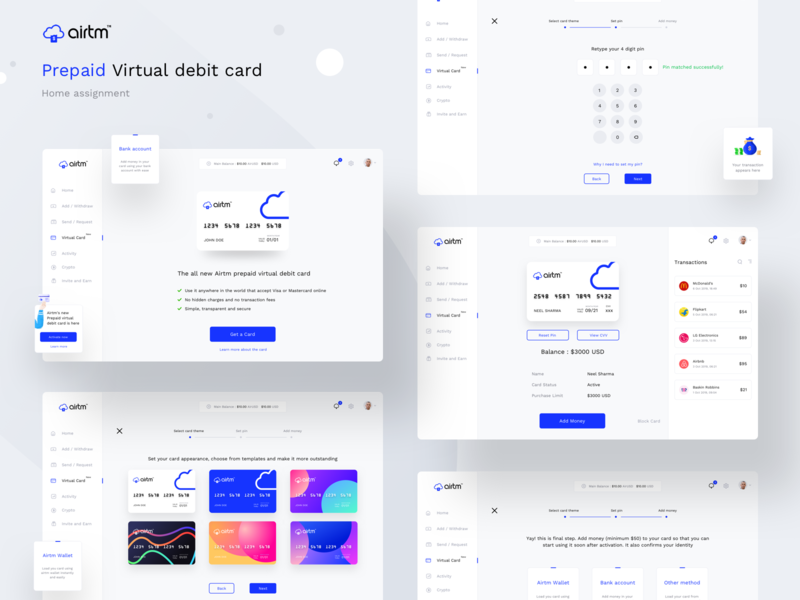 Airtm virtual card home assignment ALL SCREENS wallet transfer payment web design debit card debitcredit dashboard inspiration responsive interaction userexperience userinterface website design illustration web ui sharma neel prakhar