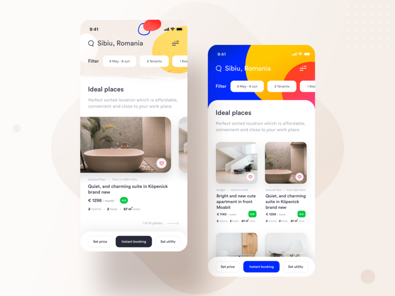 RentApp employees search versions rent places lease house home google filter date booking application apartment android apple ios illustration ui app sharma neel prakhar
