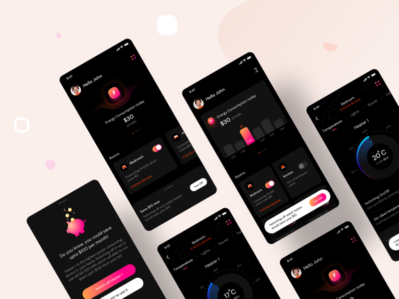 Household Energy Monitor : Prototype 1 (Design Assignment) typography trending ux design application bill electric electricity saver appliances lights dark mode night mode design branding ios illustration web ui app sharma neel prakhar