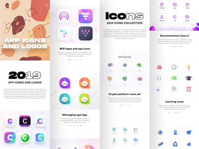 2019 App icons, logos and icons collection chat message real estate document property rental seo dashboard alarm clock cryptocurrency collection kit icons icon figma xd sketch illustrator logoset logos sharma neel prakhar