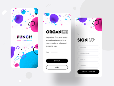 Loyalty cards collection product {Punch app} pattern background create account login signup designers app design ui ux coffee category merchant iphone 10 11 apple ios application design loyalty card loyalty cards sharma neel prakhar app