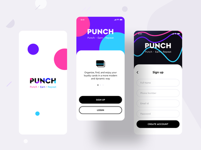 Loyalty cards collection product {Punch app} version 2 create account login signup application kit application ux ui discount offers coupon gift payment cards application interface app design loyalty card android ios illustration app sharma neel prakhar