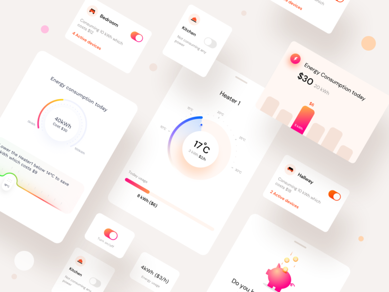 Household Energy Monitor components statistical view stats price switch design system cards electricity consumption power brand identity smart home branding money icon ios app components ui illustration sharma neel prakhar