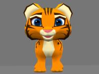 Low poly tiger cub