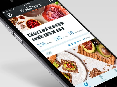 Recipe app - feed iphone app items rating icons numbers infographic chalk feed food ux ui