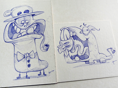 Monsters mad monsters cartoon process sketch pen illustration drawing spovv characterdesign fun character