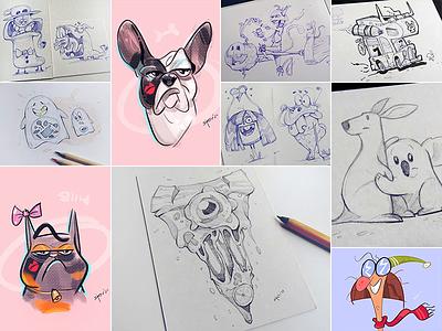 Digital vs Analog analog digital pen and ink pen pencil cartoon process sketch illustration drawing spovv characterdesign fun character