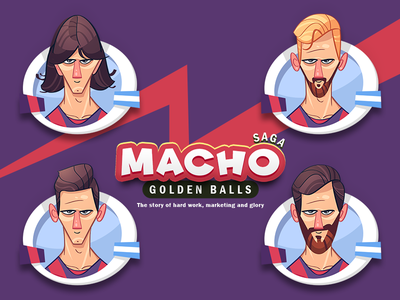 Macho & Golden Balls barcelona star leomessi gamedesign football game soccer game football soccer ball golden messi avatar spovv cartoon fun characterdesign