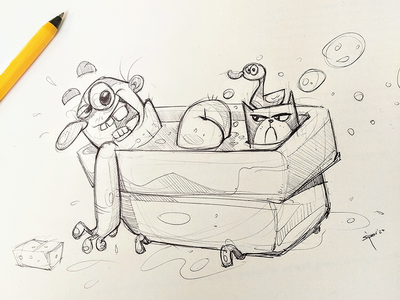 Madness Time crazy mad cat sketchbook pen cartoon sketch drawing illustration spovv characterdesign fun character