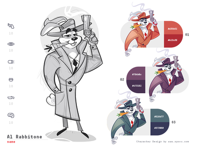 Al Rabbitone styleguide color gangster gangsta gamedesign game rabbit coloring process cartoon sketch drawing illustration spovv characterdesign fun character