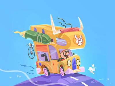 On The Road Again! game cartoon drawing illustration spovv characterdesign fun character drive road adventure