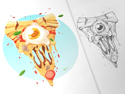 Pizza Zombie zombie pizza sketchbook pen process cartoon drawing illustration spovv characterdesign fun character