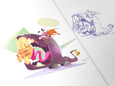 Delicious delicious skull crazy monster cartoon illustration spovv characterdesign fun character