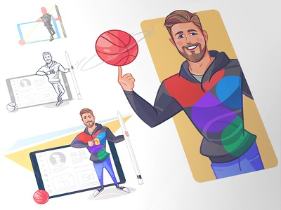 Let's Play! game dribbble player coloring process sketch cartoon illustration spovv characterdesign character