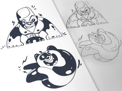 Fighters fighters fight gorilla panda ink process sketch cartoon drawing illustration spovv characterdesign fun character