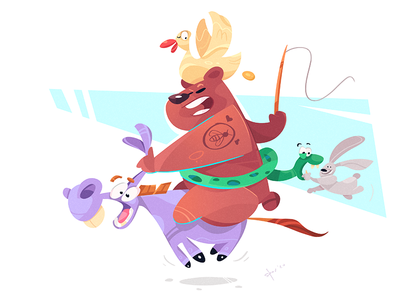Summer Play donkey snake rabbit duck bear friends play summer cartoon illustration spovv characterdesign fun character