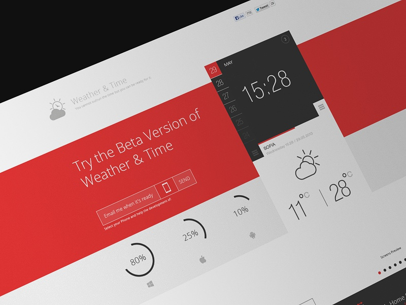 Landing page ui app time weather landing page programing