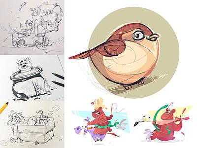 ☀️Summer Play friends summer animal pet process sketch cartoon drawing illustration spovv characterdesign fun character