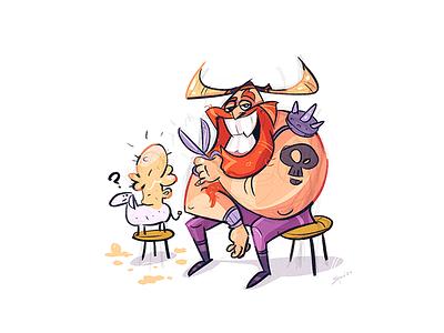 Beerbarian beer barbarian barber sheep viking process sketch cartoon drawing illustration spovv characterdesign fun character