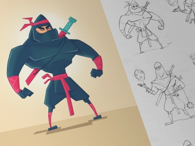 Bad Ninja pencil pen character fun ninja hero game