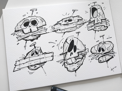 Burger Skulls ink sketch burgers burger skull art skulls skull drawing illustration spovv characterdesign fun character