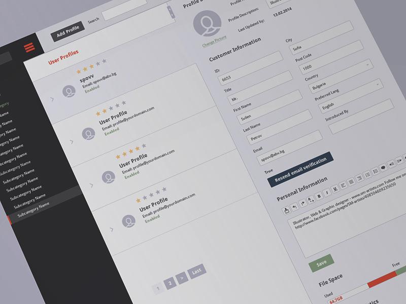 CMS (Free PSD) details customer user navigation nav interface ui cms profile freebies