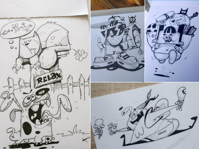 Inks icecream school relax inkscape ink pen process sketch cartoon drawing illustration spovv characterdesign fun character