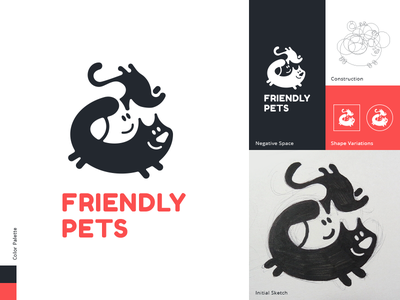 Friendly Pets cat dog logo design petslogo friends sketch process logo spovv illustration drawing characterdesign fun character