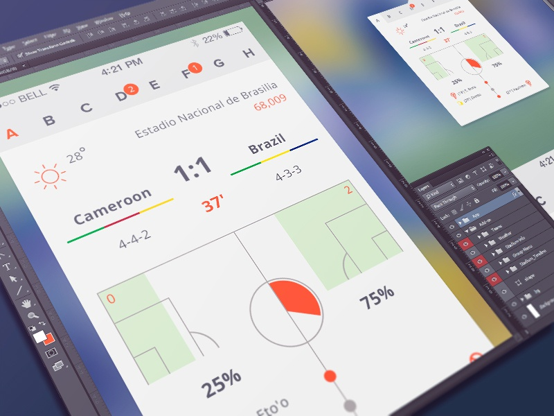 Free Soccer Apps teams ui football statistic interface soccer players app free freebies psd worldcup