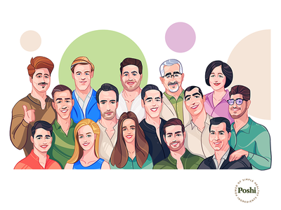 Poshi team is here! teamavatars brand coloring style stylish color colorful different way avatardesign avatar design avatar process spovv characterdesign character
